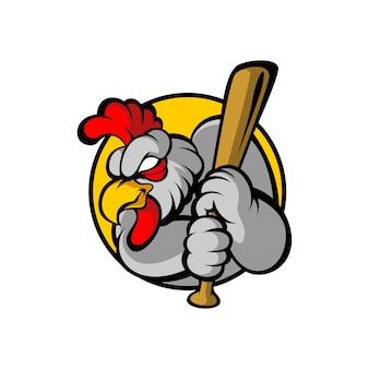 怒っている鶏のロゴ