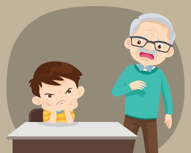 노인과 함께 앉아있는 화난 아이가 걱정스러워합니다.