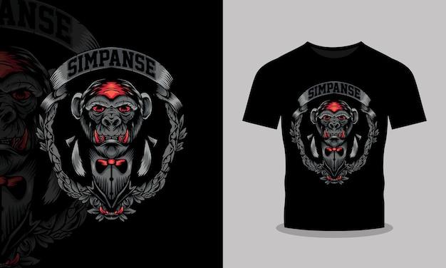 怒っているチンパンジーのtシャツのデザインイラスト