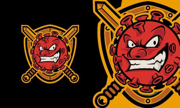 Angry corona virus premium vector illustration