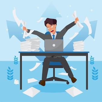 失敗とビジネスの減少、リーダーシップの成功とキャリアの進歩の概念、フラットなイラスト、ビジネスマンを心配している怒っている企業の男性。