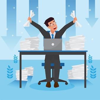 Uomo aziendale arrabbiato preoccupato per il fallimento e la diminuzione degli affari, il successo della leadership e il concetto di progresso della carriera, illustrazione piatta, uomo d'affari.