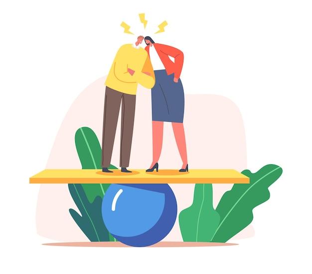 Сердитые пары персонажей спорят, кричат, обвиняют друг друга, стоят на качелях. ссора мужа и жены, семейные проблемы