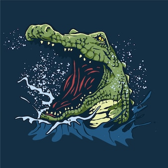 Angry crocodile illustration