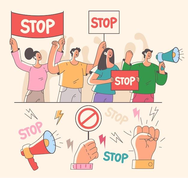 Разъяренная толпа людей-персонажей держит мегафон и плакат и кричит на демонстрационном пикете повстанцев. набор векторных плоских мультяшных графических иллюстраций