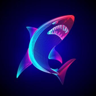 화난 위험한 상어. 네온 추상적 인 배경에 3d 라인 아트 스타일의 수중 야생 동물 바다 물고기 동물의 개요