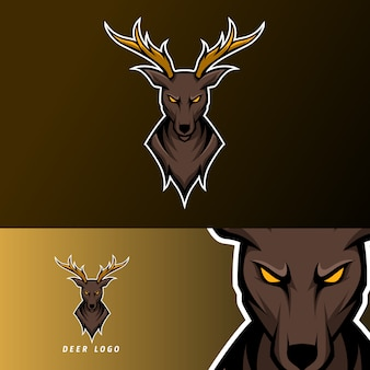 Angry deer sport esport logo template with long horn