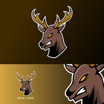 Angry deer sport gaming esport logo template with long horn
