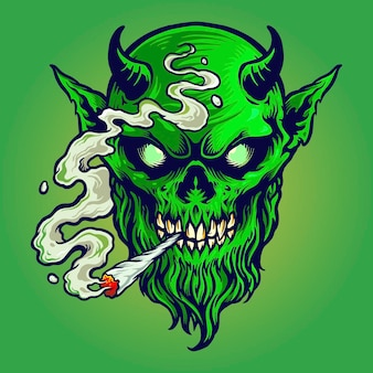 Angry devil smokes marijuana
