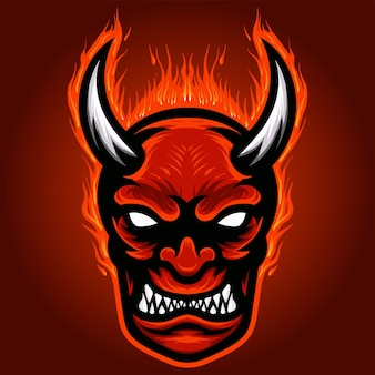 Angry devils fire head mascot