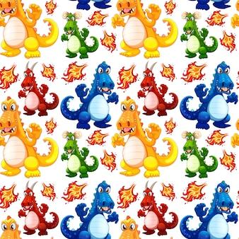 Angry dinosaur seamless pattern
