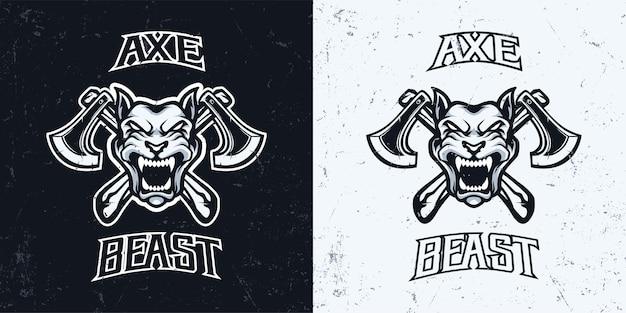 斧マスコットeスポーツゲームのロゴイラストと怒っている犬の頭