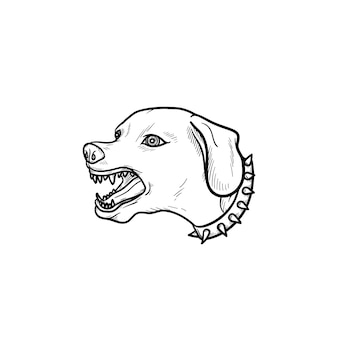 Злая собака с зубами рисованной наброски каракули значок. злая лающая собака как охранное животное и концепция агрессии