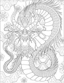 Angry dragon facing front with long body and horns colorless line drawing mythical drake beast