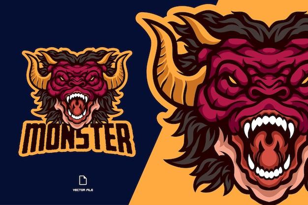 怒っているドラゴンの頭のマスコットのロゴイラスト