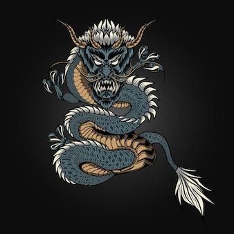 Angry dragon illustration vector