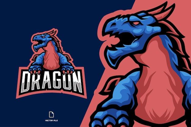 怒っているドラゴンのマスコットゲームのロゴ