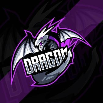 怒っているドラゴン マスコット ロゴのテンプレート デザイン