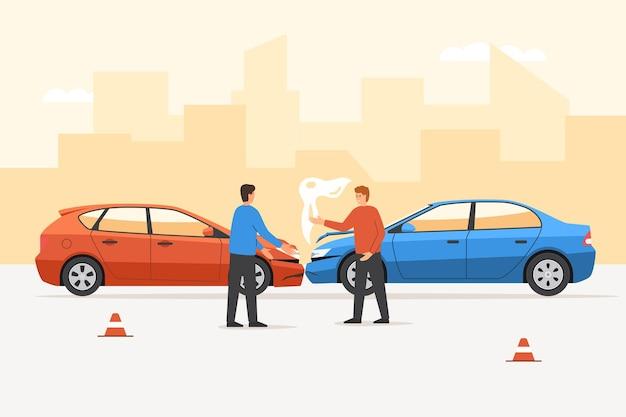 도로에서 자동차 사고 후 말다툼을 하는 화난 운전자