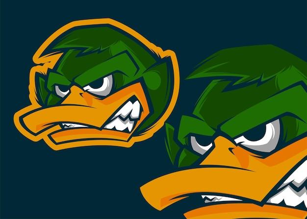 Премиум-векторный маскот гнезная головка утки иллюстрация