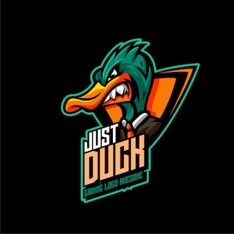 Angry duck mascot logo