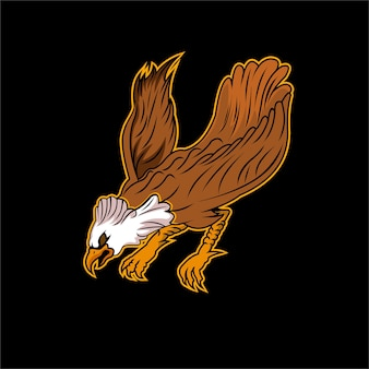 Angry eagle in the dark vector