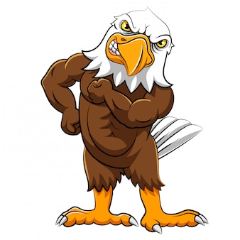 Angry eagle in standing pose of illustration