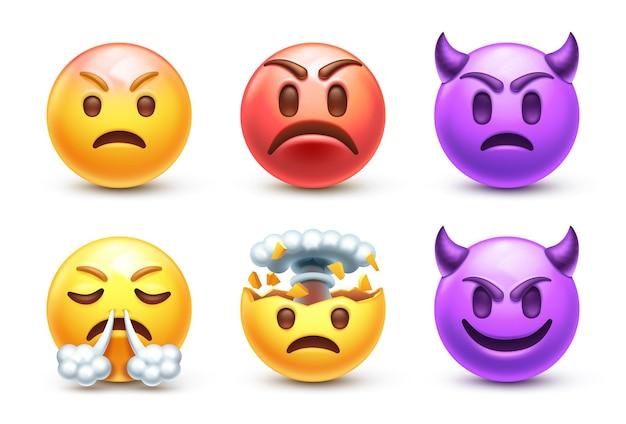 Angry emoji set