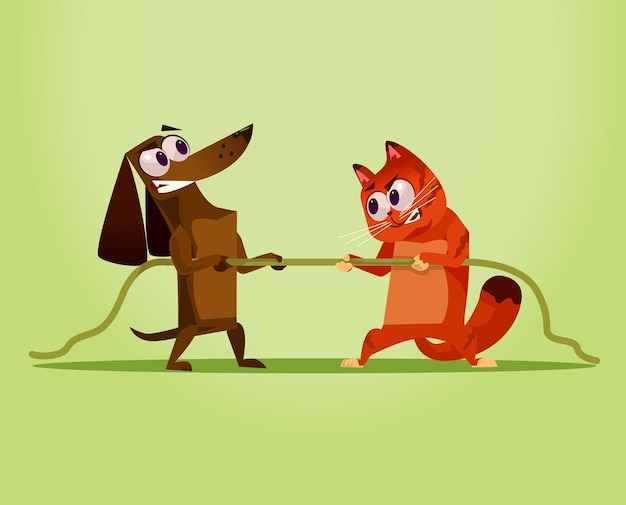 Angry enemy domestic cat vs dog competition war opposition concept cartoon illustration