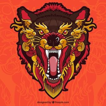 Angry ethnic wolf