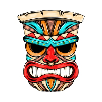 Angry face mask from the tiki island with the bright colour as the ornament