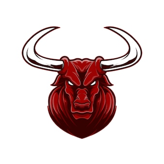 Angry face red buffalo mascot logo sport with cartoon style.