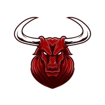 漫画スタイルの怒った顔赤水牛マスコットロゴスポーツ。