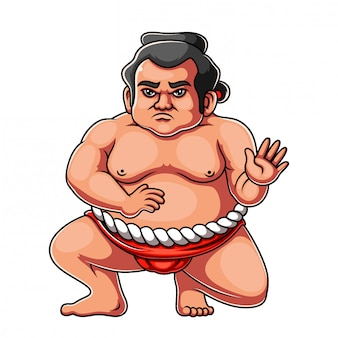 Angry face sumo standing in crouch stance