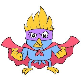 怒っている顔のスーパーヒーローの鳥は、強さ、ベクトルイラストアートを収集します。落書きアイコン画像カワイイ。