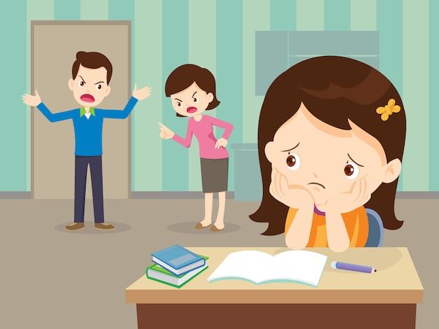 悲しい娘と口論している怒っている家族は宿題を持っています