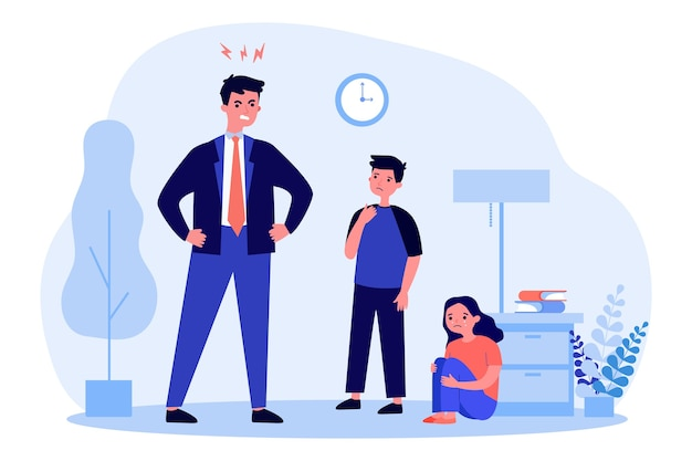 Angry father scolding his children in flat design