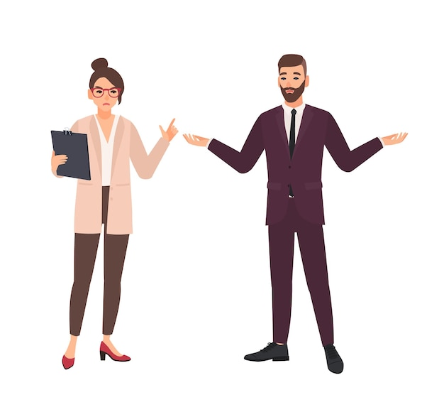 Angry female boss and male employee making excuses isolated on white