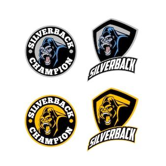 Angry fierce silverback горилла талисман логотип
