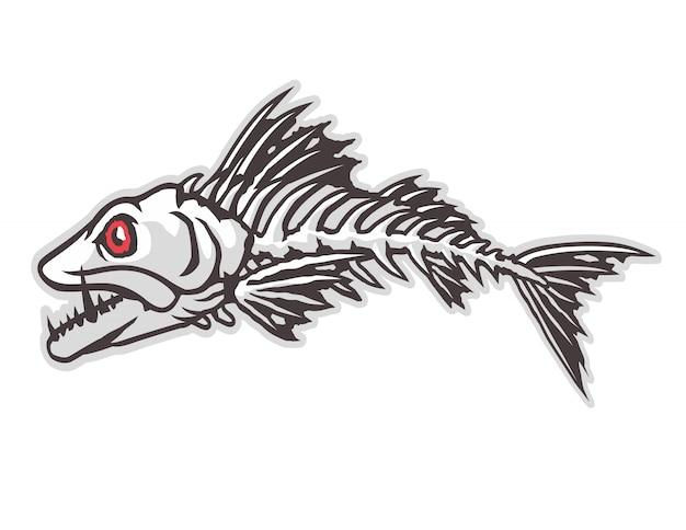 화난 물고기 뼈 마스코트 벡터