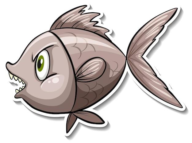 Angry fish sea animal cartoon sticker