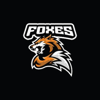 Angry fox head tail esport mascot illustration logo icon
