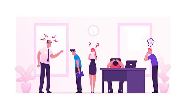 Злой яростный босс кричит на офисных сотрудников. мультфильм плоский иллюстрация
