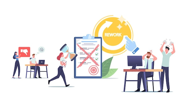 Angry furious boss character yelling at office employees for bad work. workers rework documents fixing mistakes. businesspeople in stress, deadline anxiety. cartoon people vector illustration