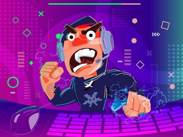 Злой геймер играет в видео-геймер