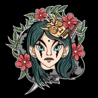 뱀과 꽃 배경 일러스트와 함께 화난 소녀와 괴물 마스크