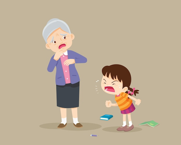 Angry girl scold to sad elderly aggressive kid screams at a scared elderly woman.