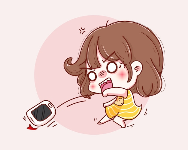 전화 및 캐릭터 디자인을 던지는 화가 소녀.