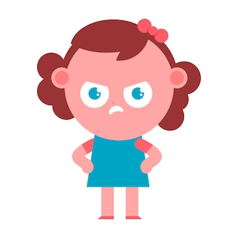 Angry girl vector cartoon character isolated on a white background.