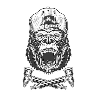 Angry gorilla head in hipster cap